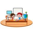 two boy in science classroom vector image vector image