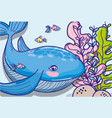 whale undersea animal cartoon vector image vector image