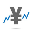 yen and stock exchange chart in background vector image vector image