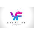 yf y f letter logo with shattered broken blue vector image vector image