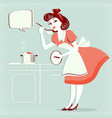 young housewife in retro fashion dress cooking vector image vector image