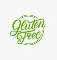 gluten free hand written lettering logo label vector image