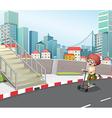 A boy skateboarding at the street vector image vector image