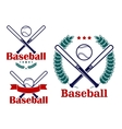 Baseball emblems or badges designs vector image vector image