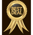 Best deal golden label with ribbons vector image vector image