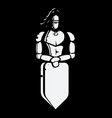 black and white image of knight with shield vector image vector image