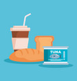 bread with coffee and tuna vector image vector image