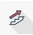 business flat line icon of career path growth vector image