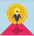 businessman with large gold coin or money behind vector image vector image
