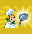 chef cook character with a frying pan vector image vector image