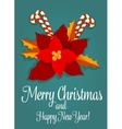 Christmas flower and candy greeting card design vector image