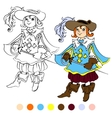 Coloring book kids play musketeer theme 4 - eps10 vector image