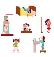 daily morning routine set little girl vector image vector image