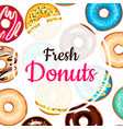 fresh donuts colorful background vector image vector image