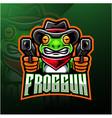 frog gun esport logo design vector image