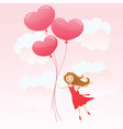 girl with heart balloons vector image