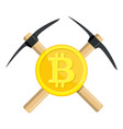 golden bitcoin and pickaxe vector image