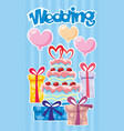 greeting wedding poster vector image vector image