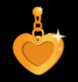 heart shaped gold glitter pendant vector image