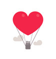 heart symbol as hot air balloon with couple inside vector image vector image