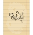 Ink pen drawing of an owl on lined paper sheet vector image