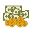 Isolated coins and bills design vector image vector image