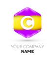 letter c logo symbol in colorful hexagonal vector image vector image