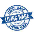 living wage round grunge ribbon stamp vector image vector image