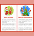 merry christmas and decorate xmas tree posters vector image vector image