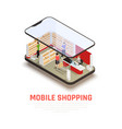 mobile shopping concept vector image vector image