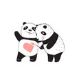 panda bear drawing love heart vector image