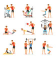 personal gym coach trainer or instructor set vector image vector image