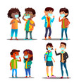 sad characters protected from smog set vector image vector image