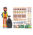 sanitation worker man character creation vector image vector image