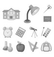 school and education monochrome icons in set vector image vector image