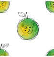 Seamless pattern of watercolor green apple vector image vector image