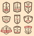 set chess club emblems design element for vector image vector image
