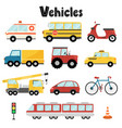 set city transport with car bus crane vector image