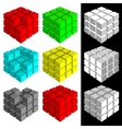 Set of multicolored cubes vector image vector image