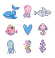 set sea animals cartoons vector image