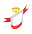 Shield with red ribbon and crown icon vector image vector image