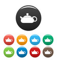 teapot icons set color vector image vector image