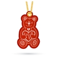Teddy bear with present Label tag hanging on vector image vector image
