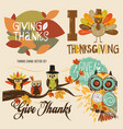 thanks giving cute set vector image vector image