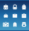 white flat travel bag icons set vector image vector image