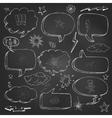 Hand drawn cartoon speech bubble on black board vector image
