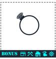 Diamond ring icon flat vector image