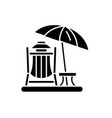 beach vacation black icon sign on isolated vector image vector image