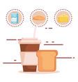 bread with nutritive food vector image vector image