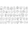 cartoon black and white characters heads big set vector image